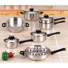 MAXAM KT17 17 PIECE 9-ELEMENT STAINLESS STEEL WATERLESS COOKWARE: - SALE!!! SAVE!!!
