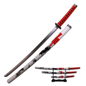 Samurai Katana Sword Set of 3, Red Wrap Handles,White Scabbard