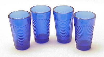 Child's Water Glasses (4) Caprice Pattern in Cobalt Blue