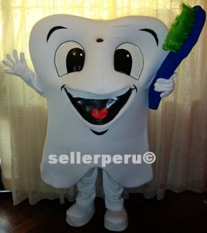 """NEW ADULT TOOTH COSTUME DELUXE MASCOT up 5' 9"""""""