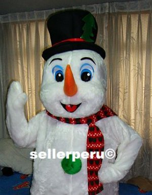 """NEW ADULT SNOW MAN DELUXE COSTUME MASCOT up 5' 8"""""""