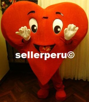 "NEW ADULT HEART COSTUME MASCOT 5' 9"" VALENTINE DAYS"