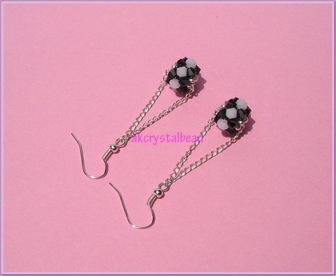*Free shipping* Black&White Swarovski Crystal Chain Earrings