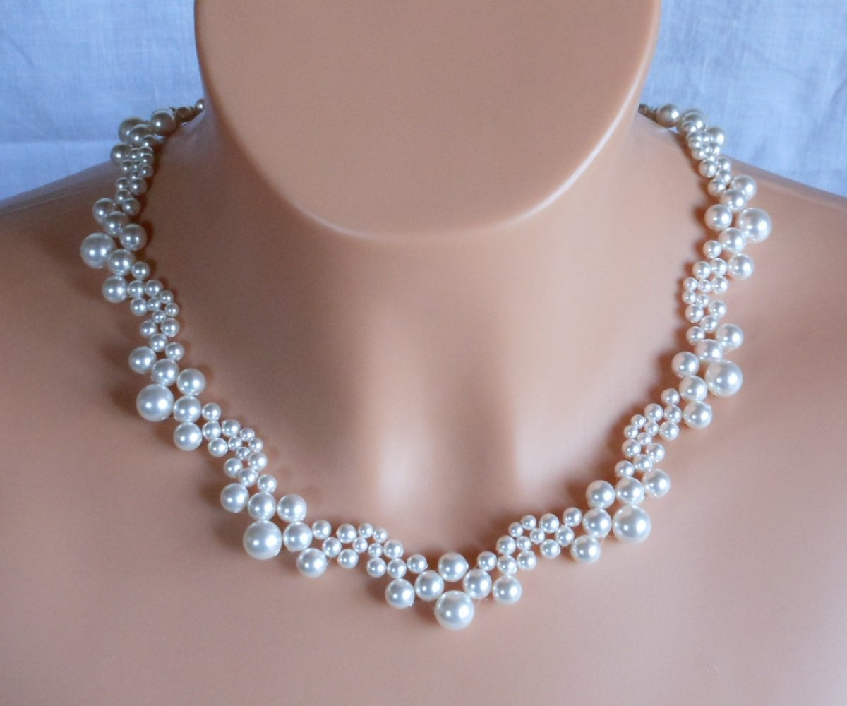 Swarovski White Pearl Bridal Necklace,Woven Bridal Necklace,White Pearl Necklace