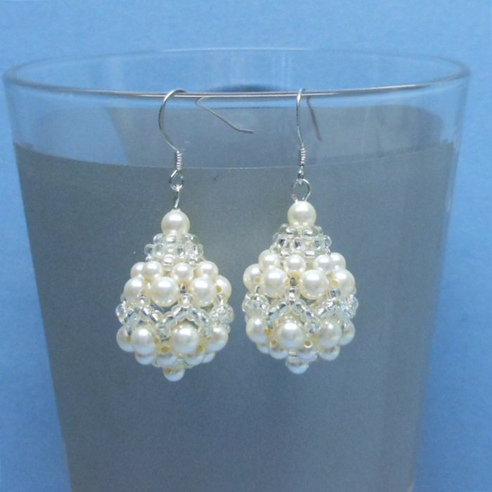 Swarovski Cream Pearl Bridal Earrings, Woven Bridal Earrings, Earrings for Bride, Bridal Earrings