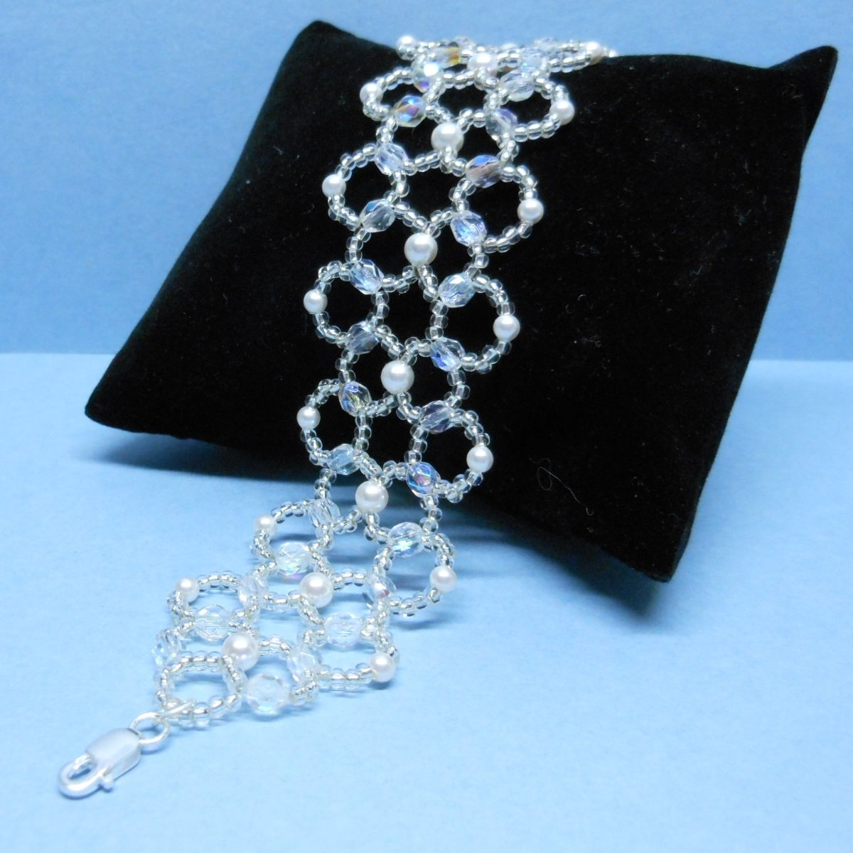 Swarovski White Pearl Bridal Bracelet,Woven Bridal Bracelet, Czech Fire-Polished Bridal Bracelet