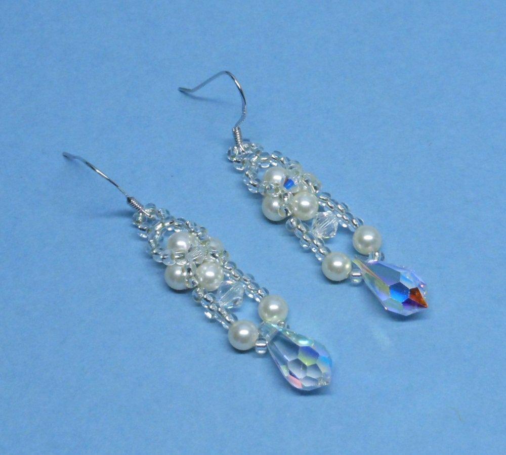 Swarovski Cream Pearl Bridal Earrings, Woven Bridal Earrings, Earrings for Bride, Bridal Earrings