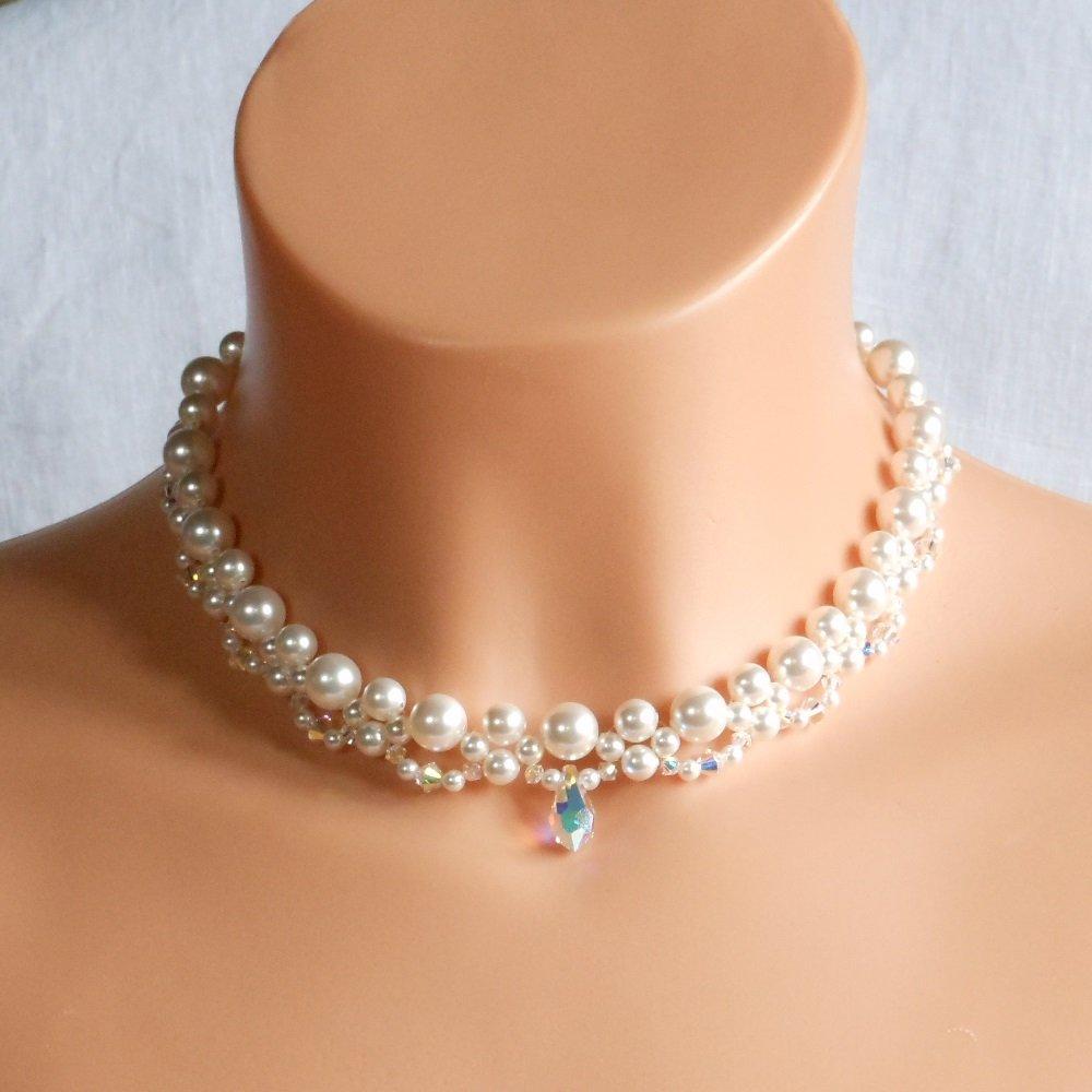 Swarovski White Pearl Bridal Necklace,Woven Bridal Necklace, Swarovski Crystal Bridal Necklace