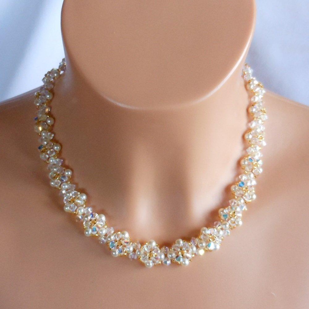 Swarovski cream Pearl Bridal Necklace,Woven Bridal Necklace, Swarovski Crystal Bridal Necklace