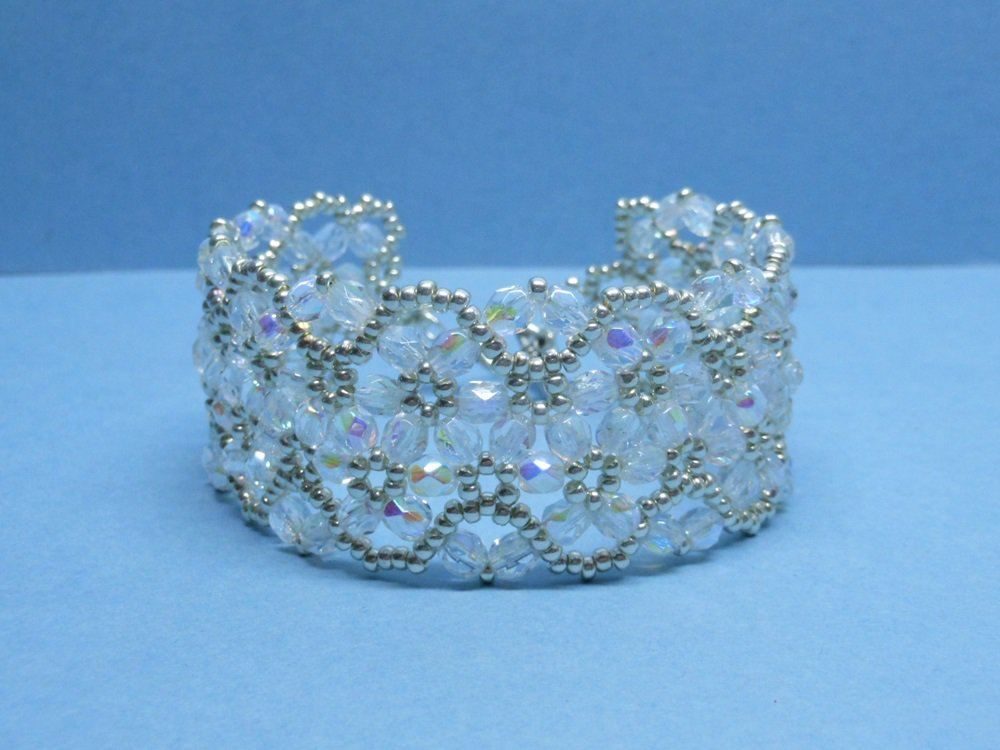 Czech Fire-Polished Bridal Bracelet, Woven Bridal Bracelet, wedding bracelet, wedding jewelry