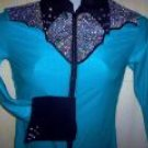 Turquoise/Silver/Black Western Pleasure, Rail, Showmanship, Shirt