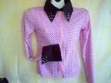 Pink W/ Black Dots ,Showmanship,Western Pleasure,Rail,Shirt