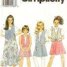 Simplicity Sewing Pattern 7233 Girls Vests Skirts 7-10 Back to School Uncut Fold