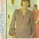 McCall's Sewing Pattern 5271 Easy Tie Neckline Top or Dress 1970's look Sz 10-12