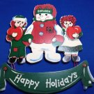Raggedy Ann Andy Snowden Plaque Happy Holidays Door Wall 1998 Welcome Doll Rag