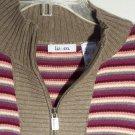 Sweater Liz & Co Zip Neck Stripe Nordic Design Size XL Tan Pink Purple White