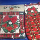 Christmas Wreath Puffy Hot Pad Oven Mitt New Apple Plaid Barth Dreyfuss Bow
