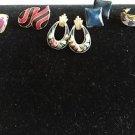 Enamel Button Hoop Earrings Pierced Costume 5 Pairs Lot Flowers Purple Goldtone