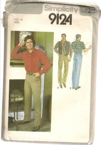 Simplicity Sewing Pattern 9124 Mens Western Shirt Pants Reversible Vest Size 40