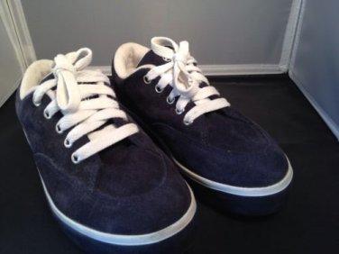Airwalk Navy Blue Leather Suede Sneaker Athletic Shoe Tennis Youth 4.5 Women 6.5