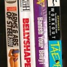 Lot of 4 Exercise Fitness VHS tape Banish Belly Abs Arms Steel Tae Bo Billy Bank