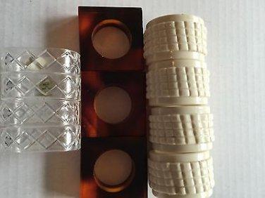 Napkin Rings Lot of 11 Vintage Lucite Tortoise Shell White Clear Plastic Table