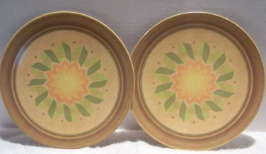 Melmac Genuine 2 Dinner Plates Harvest Gold Starburst Flower Orange Green 1960's