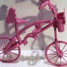 Barbie Doll Accessories Hot Pink Bike Bicycle 2007 Mattel Flowers Basket