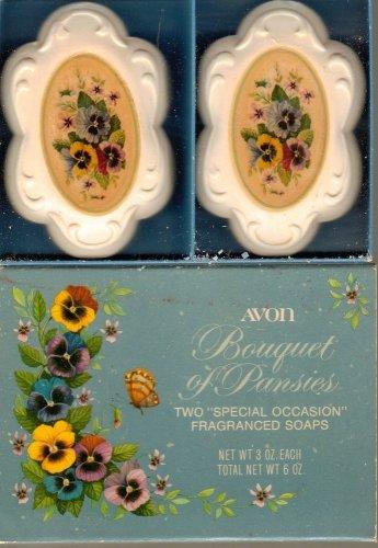 Avon Soap Bouquet of Pansies Vintage 2 Cakes Decal Unused Flower Spring