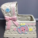 Napco Baby Planter Music Box Rock a Bye Baby Lullaby Pink Bow Bassinet Girl