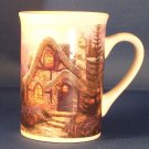Stone Cottage Thomas Kinkade Mug 2004 Fir Trees Coffee Tea Coco Christmas Sky