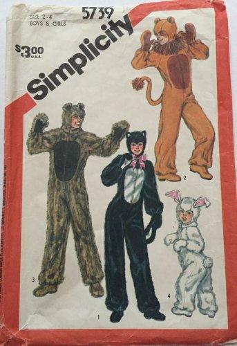 Simplicity Sewing Pattern 5739 Child Cat Lion Rabbit Bear Costumes Size 2 - 4