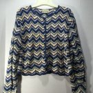 Sweater Crop Best United Garment Co Cardigan Blue Variegated Ripple Knit Scallop