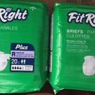 """Fit Right Briefs Plus Regular 40 Count  2 Packages 40-50"""" Men Women Side Tabs"""