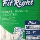 "Fit Right Briefs Plus Medium 40 Count  2 Packages 32-42"" Men Women Side Tabs"