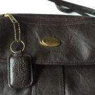 Purse TR  BENTLEY Brown Faux Leather Shoulder Strap Key Fob Zipper Med. Size Bag
