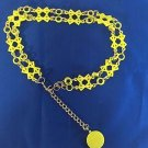 Belt Vintage Mod 1960s Yellow Hard Plastic Geometric Shapes Circles Chain Hippie