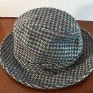 Adam New York Vintage Hat Wool Fedora Tweed Plaid Med 7 -7 1/8 Gray Black Red