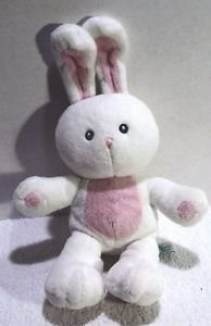"""Plush Meadow Bunny Rabbit Russ Berrie White Pink Toy 13"""" Soft Cuddly"""