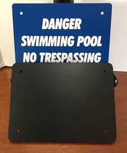 Danger Swimming Pool No Trespassing Hard Plastic 2 Piece Backer Blue 6X8 inches