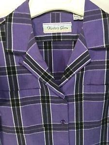 Blouse Purple Plaid Short Sleeve Size 12 Vintage 1970's Hunter's Glen Pockets