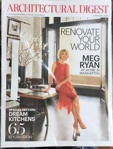 Architectural Digest Magazine New November 2016 Meg Ryan Cover
