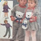 Simplicity Sewing Pattern 6562 Toddler 1-3 Skirt Pants Bag Bear Applique Knit