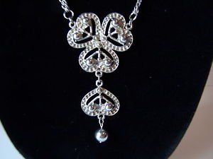 Necklace Chandelier Dangle Long  28 inch drop Silver Tone Jewelry Holidays Party