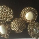 Jewelry Button Covers Faux Pearl Gold Set of 5  Antique