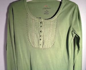 Bob Timberlake Long Sleeve Top Pleated Yoke Henley Button Green XSmall Soft