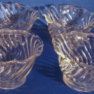 Set 4 Glass Swirl Desert Bowls Scallop Clear Sherbert Sorbet Pudding Jello