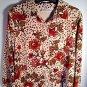 Blouse Dressbarn Petite Medium Brown Tan Red Floral Velour Big Shirt Button Soft