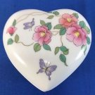 Heart Trinket Box Takahashi San Francisco Camille Porcelain Butterfly Flowers