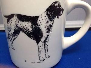 German Shorthaire Pointer Dog Coffee Cup Mug 1985 Cindy Farmer White Black Hunt
